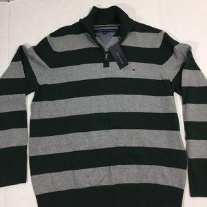 Tommy Hilfiger Green Striped Zip Sweater XL